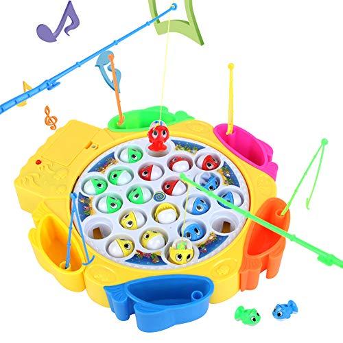 Elektrisch Angelspiel Musikalisches Spiel mit 21 Fische und 6 Ruten für Kinder Mädchen ab 3 4 jahren