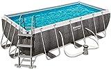 Bestway Power Steel Rectangular Frame Pool Set, viereckig 412x201x122 cm Stahlrahmenpool-Set mit Filterpumpe + Zubehör, grau, Rattanoptik