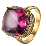 HIJONES Damen Edelstahl Gold Lila Edelstein Versprechen Ring mit Weiß Zirkonia Pflastern Größe 57