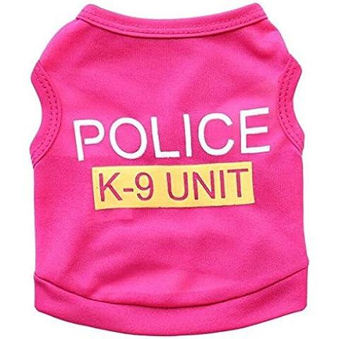 Ropa Chaqueta Con Capucha Chaleco de Capa Traje para Mascotas Perros Policía de Perrito - L, Rosa roja