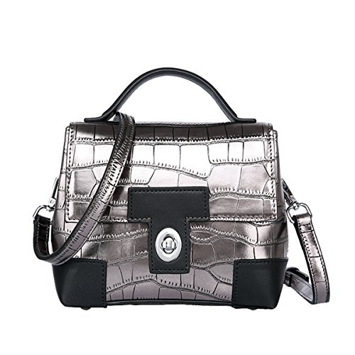 E-Girl Q0857 Damen Leder Handtaschen Satchel Tote Taschen Schultertaschen Silber