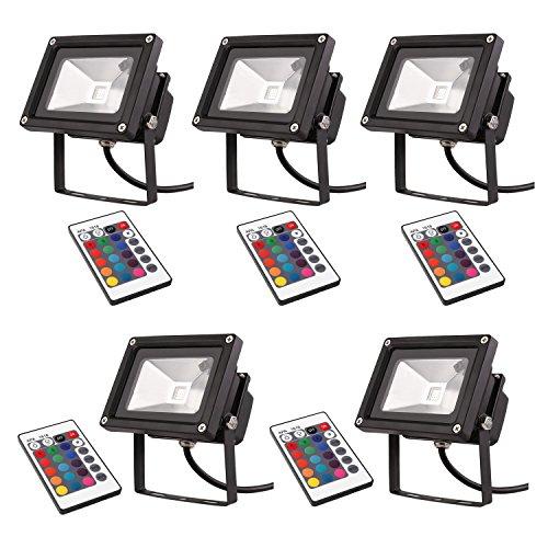 DECKEY 5St. 10W RGB Strahler LED 16 Farben Scheinwerfer Wasserdicht LED-Fluter Außenbeleuchtung IP65 Schwarz Gehäuse mit Fernbedienung Fluter Außen (5 Schwarz Stück)