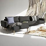 Innovation Schlafsofa mit Armlehnen und Holzbeinen Idun Lounger Textil schwarz