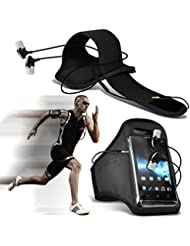 ( Black + Ear phone 142 x 71 ) Ulefone Metal case High Quality Fitted Sports Armbands Running Bike Cycling Gym Jogging Ridding Arm Band case cover With case High Quality Fitted in Ear Buds Stereo Hands Headphones Headset with Built in Micro phone Mic and On-Off Button by i-Tronixs