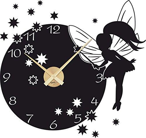 GRAZDesign Lernuhr Kinderwanduhr Ohne Ticken süßes Motiv für Mädchen - Kinderuhr Kinder Wanduhr Fee mit Sternen - Wandtattoo Uhr Kinderzimmer / 60x57cm / 800394_GD_070