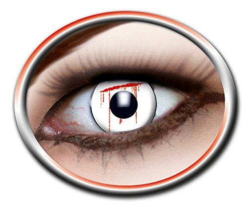 ontaktlinsen farbig rot-weiß 3-Monatslinsen Motiv-Linsen blutiges Auge Halloween Fasching OHNE Sehstärke (Slash Kostüm Für Kinder)