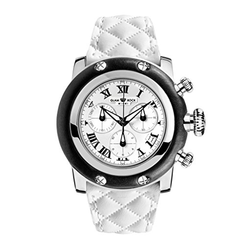 Glam Rock Women's Sobe 46mm White Leather Band Steel Case Sapphire Crystal Swiss Quartz Watch GR11135