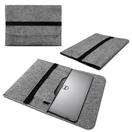 UC-Express Laptop Tasche Sleeve Hülle für Dell XPS 13 9380 9370 9360 9365 Notebook Netbook Case aus strapazierfähigem Filz in Grau mit praktischen Innentaschen, Farbe:Grau Netbook Case