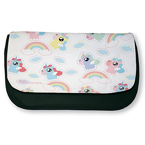 Trousse noire de maquillage ou d'école Rainbow unicorn ( Licornes arc en ciel ) Chibi et Kawaii by Fluffy chamalow - Fabriqué en France - Licence officielle Chamalow shop
