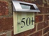 Moderna casa signo placa puerta número de la calle cristal efecto crema solar LED