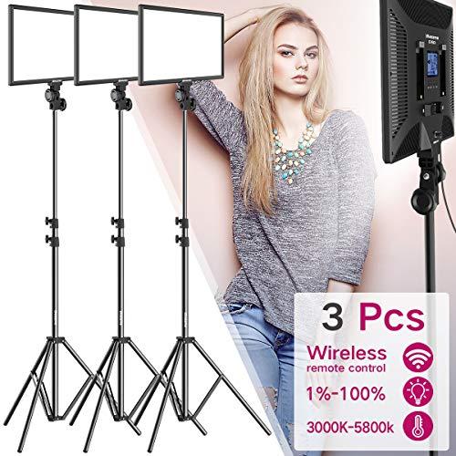 Dazzne D50 Video Light Kit 3 Packs mit Light Stand 3000K-5800K Bicolor 45W High Brightness LED-Kamera-Lichtleiste für YouTube Studio, Digitale Spiegelreflexkameras -