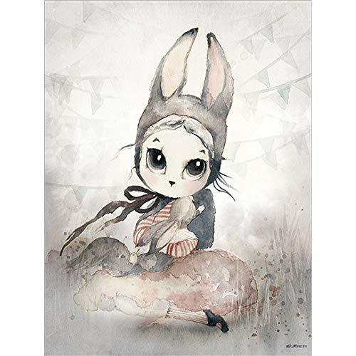zxddzl Nucleo Decorativo Dipinto a Mano 23 40 * 50 della Pittura Decorativa della Camera da Letto della Ragazza del Coniglietto Dipinta a Mano
