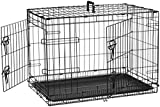 AmazonBasics Double-Door Folding Metal Dog Crate, 76 cm