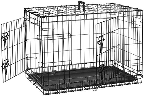 AmazonBasics Double Door Folding Metal Dog Cage with Paw Protector (30 inches)