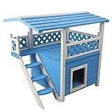 Petsfit maison niche chat, intérieure, maison pour chat intérieure en bois avec un lieu de repos, foyer pour chat deux étages, couleur grise, 77 cm x 56 cm x 73 cm