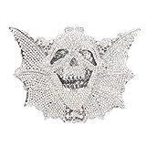 Bonjanvye Shining Skull Shape Clutch Purses and Handbags for Hollaween Party AB Silver