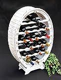 DanDiBo - Portabottiglie in legno, per 24 bottiglie, stile vintage shabby chic, colore: bianco