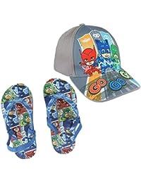 Cerdá Chanclas PJ Masks Disney Calidad Premium + Gorra PJ Masks Talla 53 - Colores Azul Verde y Gris - Flip Flop PJ + Cap