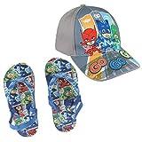 Cerdá Chanclas PJ Masks Disney Calidad Premium + Gorra PJ Masks Talla 53 - Colores Azul Verde y Gris - Flip Flop PJ + Cap (26/27)