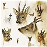 Ambiente Papierservietten - Servietten Lunch / Party / ca. 33x33cm Portraits Of Deer - Porträts von Hirschen - Hirsch - Rien Poortvliet Collection - Ideal Als Geschenk Und Tisch-Deko