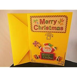 Weihnachtskarte Frohe Festtage Weihnachten Klapp Karte Glückwunschkarte mit 3D Winter Motiv Handmade Unikat