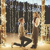 B-right Cortina de Luces, 6m * 3m, 594 LEDS Blanco Cálido, con Control Remoto, 8 Modos de Luces de Hadas de la Serie de Luces para Decoración de Ventana, Patio, Fachada, Navidad, Día de San Valentín,Boda, etc