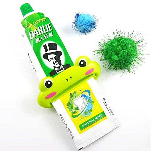 LIUYUNE,Animal en Forma de plástico dispensador de Pasta de Dientes de Dibujos Animados Pasta de Dientes exprimidor Tubo rodante Titular exprimidor(Color:Verde)