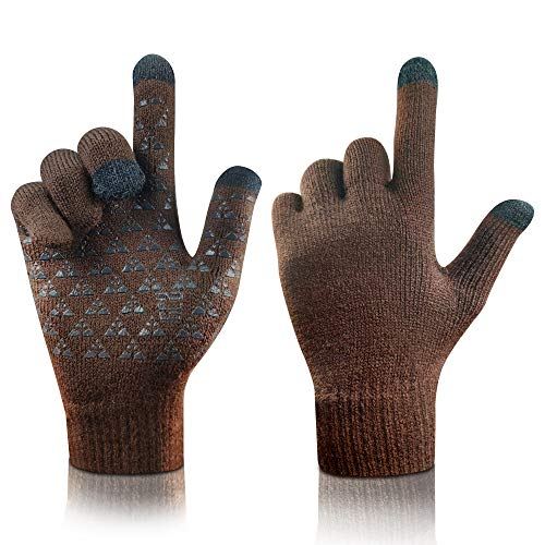 arteesol Knit Handschuhe Winter warme Handschuhe, Winddichte Anti-Rutsch-Touchscreen-Handschuhe Verd (Brown)
