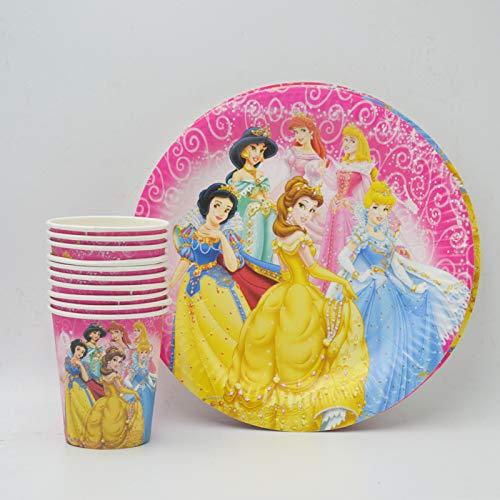 20 Teile/Satz Ariel/Schneewittchen / Belle/Cinderella / Jasmin/Aurora Platte/Tasse MädchenGeburtstag Dekoration Cartoon Thema Party Für Kind