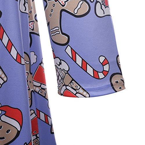 Dreamskull Kleid Basic Knielang Langarmkleid Midikleid 3d druck Aufdruck Langarm Casual Pullover Weihnachten Weihnachtsfeier Weihnachtsmuster Blusenkleid Rundhals Stretch Damen Frauen G165