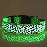 Bodhi2000 LED verstellbar, für die Sicherheit für Haustiere, Hunde, Hundehalsband, Sichtbarkeit in der Nacht Blinken Leopard Muster Kragen