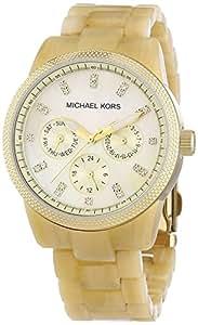 Michael Kors MK5039 Femmes Ivoire motifs en plastique Bracelet Tone Day Date cristal de quartz d'or
