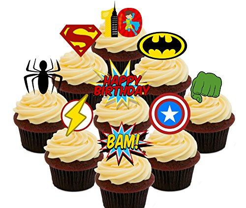 10. Geburtstag Superheld Essbare Cupcake Topper-Stand-Up Wafer Kuchen Dekorationen, Pack of 36