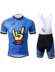 Thriller Rider Sports® Hombre Rock Music Blue Deportes y Aire Libre Maillot Manga Corta de Ciclismo y Pantalones Cortos Babero Traje Medium