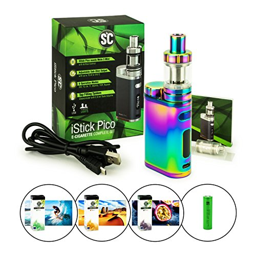 Starterset SC/Eleaf iStick Pico + Melo 3 Mini + 3120 mAh Sony VTC6 + 3 x 10 ml SC Liquid (nikotinfrei) E-Zigarette / E-Shisha (regenbogen)