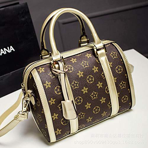 Ldyia Tasche Druck Damen tragbare Boston Tasche Frauen Kissen Tasche Handtaschen Presbyopie große Kapazität einzelne Schulter Diagonale Paket, Gold
