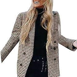 Elegantes Mujer Patchwork Traje Blazer Chaqueta Americana Chaqueta Abrigos Otoño Moda A Cuadros Casual Manga Larga con Bolsillos Botonadura Slim Fit Oficina Negocios