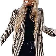 Elegantes Mujer Patchwork Traje Blazer Chaqueta Americana Chaqueta Abrigos  Otoño Moda A Cuadros Casual Manga Larga 82ca2c420c5a