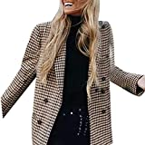 Sannysis Anzugjacke Damen Blazer Elegant Langarm Mode Frauen Coat Retro Button Lattice Schulterpolster Anzug Mäntel Bluse Herbst Winter