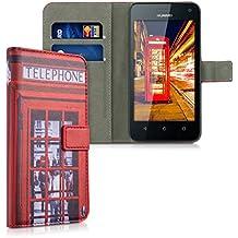 kwmobile Custodia portafoglio per Huawei Y625 - Cover a libro in simil pelle Design telefono Londra Flip Case con porta carte funzione appoggio rosso nero bianco