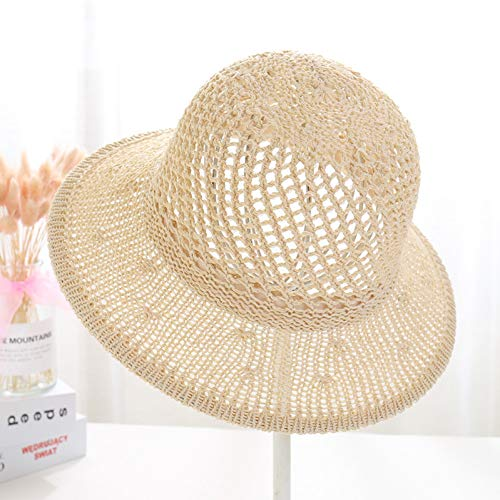 LAIGESJADIAO Spring and Summer Women's Sunscreen Visor Korean Cotton Knit Hat Hollow Fashion Basin Cap Folding Fisherman Hat - Womens Visor Knit Hat