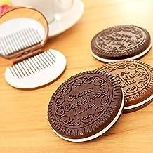 Haut Pflege Werkzeuge Schöne Schokolade Cookie Shaped Spiegel Make-up Make-up Spiegel Mit Kamm Mädchen Frauen Mini Taschenspiegel