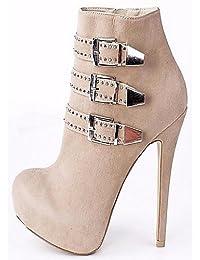 Ei&iLI Zapatos de mujer - Tacón Stiletto - Botines - Botas - Oficina y Trabajo / Vestido / Fiesta y Noche - Vellón -Negro / Marrón / Rojo / , us12.5 / eu45 / uk10.5 / cn47