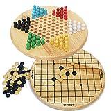 Toys of Wood Oxford Chinese checkers et Gobang (cinq dans une rangée) 2 en 1 jeu de plateau - jouet en bois pour 3 ans