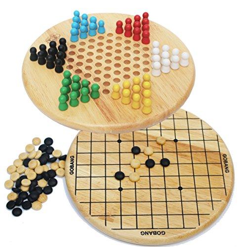 Toys of Wood Oxford damas chinas y Gobang (cinco en fila) de madera 2 en 1 juego de mesa - juegos de mesa 6 años