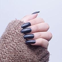 24pcs 12diferentes tamaño noche negro Color sólido simple Stiletto Media funda de Full diseño de puntas de uñas postizas con