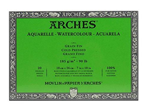 Unbekannt Arches 1795052Bloc para Acuarelas, Madera, Blanco, 26x 18x 1cm
