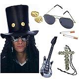 Déguisement de Slash, le guitariste de heavy metal, incluant chapeau haut-de-forme avec perruque fixée, lunettes, cigarettes, guitare, guitare, bagues en or et pendentif croix