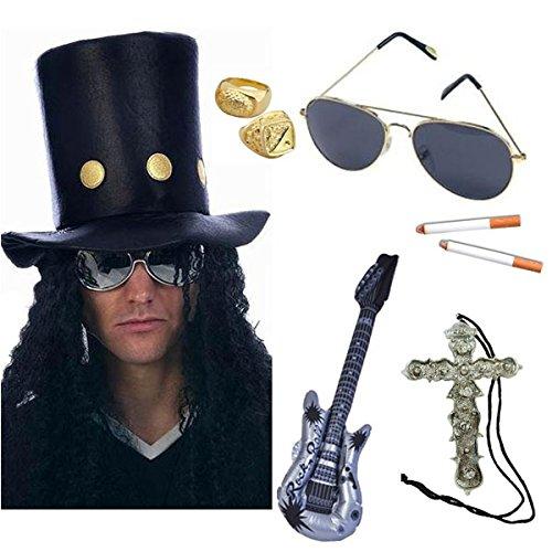 Blue Planet Online Slash Heavy-Metal- / Rocker-Kostüm, umfasst Hut mit Perücke, Sonnenbrille, Zigarette, Gitarre, Goldfarbene ringe & Halskette mit Kreuzanhänger