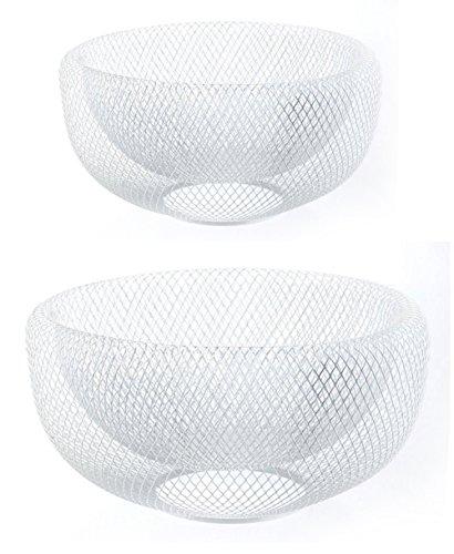 GMMH cesto Portafrutta cestino per il pane in metallo 2pezzi set regalo cestino filo ferro cestino decorativo bianco